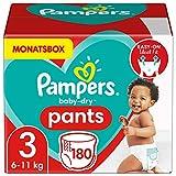 Pampers Größe 3 Baby Dry Baby Windeln Pants, 180 Stück, MONATSBOX, Für...